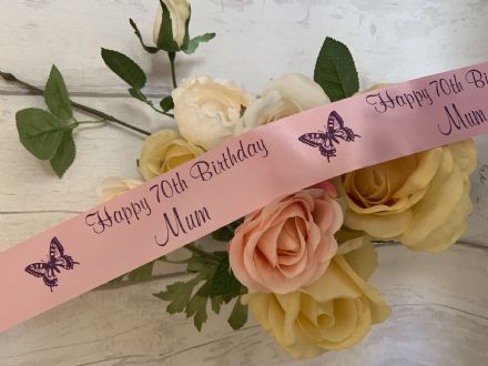60th, 70th, 80th, 90th 100th birthday personalised ribbon